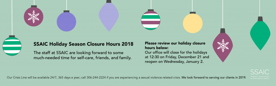 SSAIC Holiday Hours - closed 12:30 Friday December 21 and reopening January 2