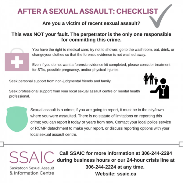 Checklist: After a Sexual Assault